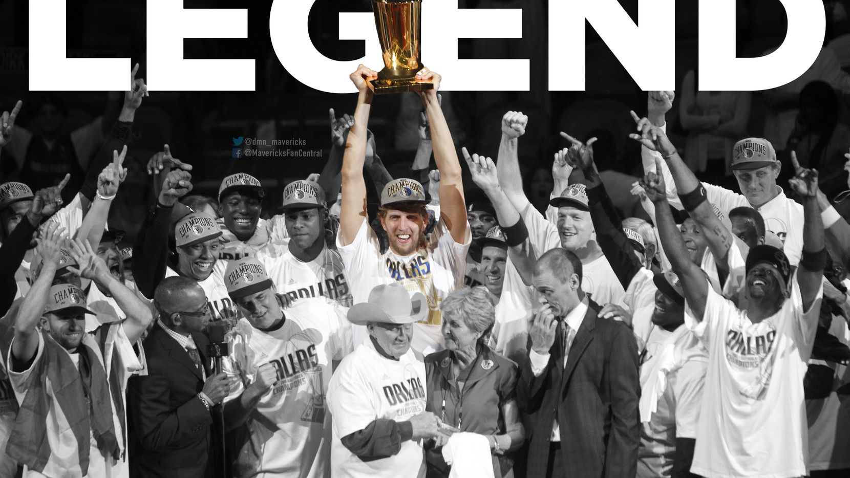 Illustration by Joshua Friemel. File photo: The Mavericks celebrate with the Larry O'Brien Trophy after winning Game 6 of the 2011 NBA finals against the Miami Heat at American Airlines Arena in Miami on June 12, 2011. (Vernon Bryant/The Dallas Morning News)