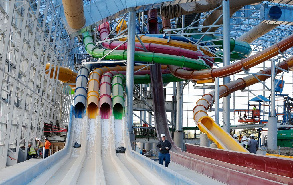 View of some of the nine waterslides during a tour of Epic Waters Indoor Waterpark in Grand Prairie on Tuesday, October 3, 2017. The park is still under construction and scheduled to open later this year.