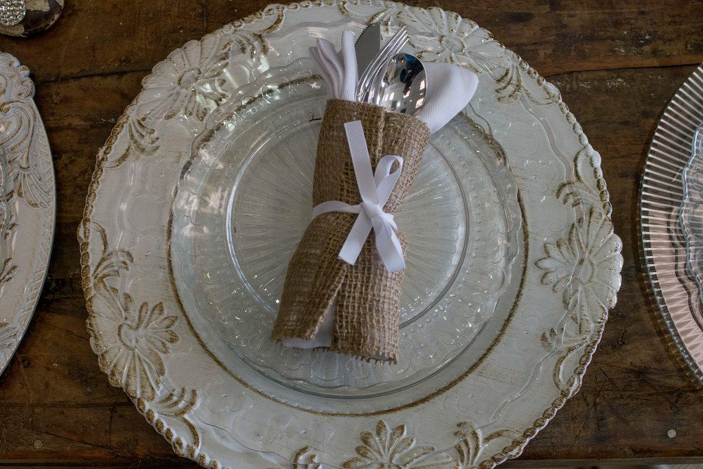 A place setting at Sweet Pickins at Preston Shopping Center in Dallas.