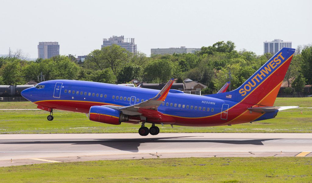A Southwest Airlines flight takes off at Dallas Love Field Airport.