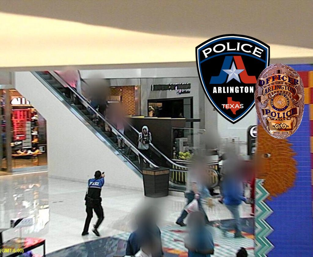 An off-duty police officer shot and wounded a man suspected of stealing from a store at The Parks at Arlington mall Sunday afternoon.