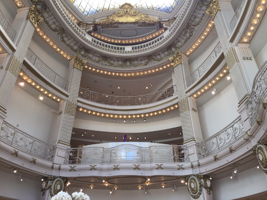 Regal entrance of the Neiman Marcus store in San Francisco. This is what you see when you look up while standing in the cosmetics department. Photo taken in March 2017.