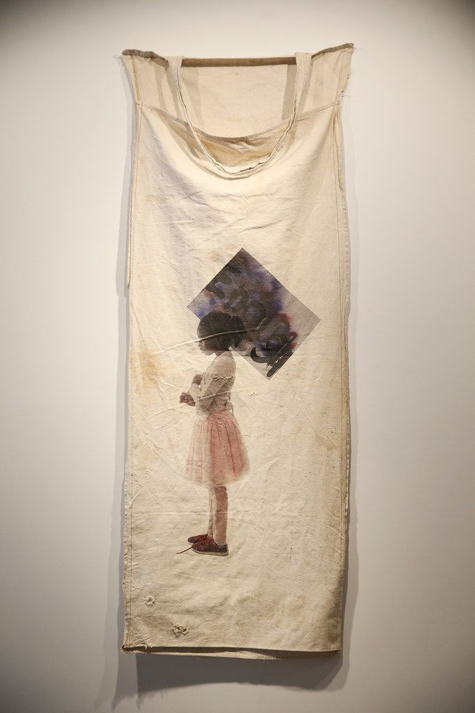 'Sugar and Spice (Suffrage Project),' a pigment print on a vintage cotton picking sock by Letitia Huckaby