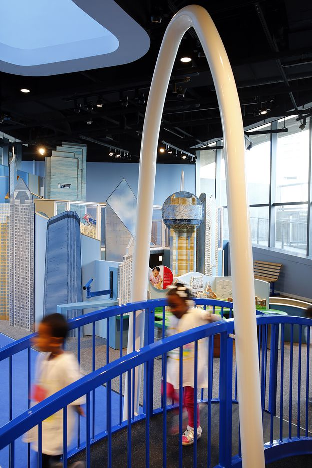 A play structure built to reflect the downtown Dallas skyline and the Margaret Hunt Hill bridge are part of the Moody Family Children's Museum inisde the Perot Museum of Nature and Science, November 1, 2012.  (Tom Fox/The Dallas Morning News)