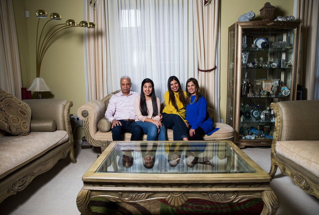 The Valliani family -- from left, Farrukh, Alisha, Shireen and Farida -- poses for a photo inside their home on Wednesday, March 14, 2018 in Irving, Texas. They are members of the Ismaili faith.