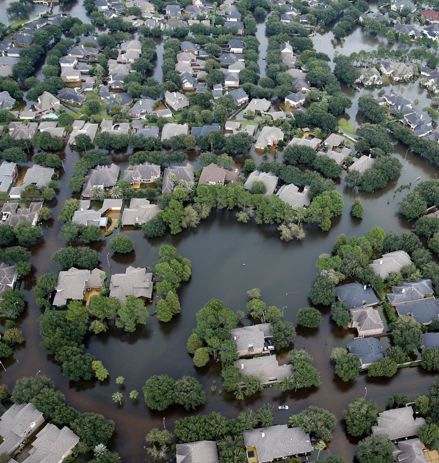 A flooded neighborhood off North Eldridge Parkway near the Addicks Reservoir in West Houston, Texas, was inundated with water, Wednesday, August 30, 2017. Hurricane Harvey inundated the Houston area with several feet of rain. (Tom Fox/The Dallas Morning News)
