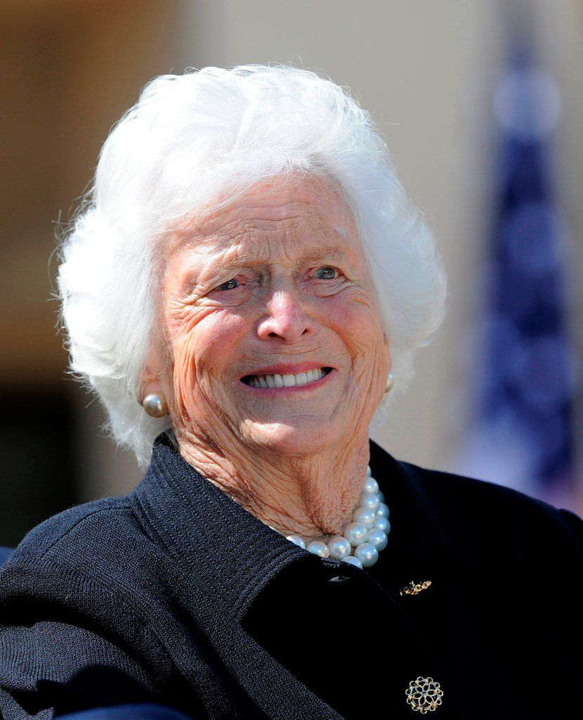 Former first lady Barbara Bush smiles during the George W. Bush Presidential Center dedication ceremony in Dallas in 2013.