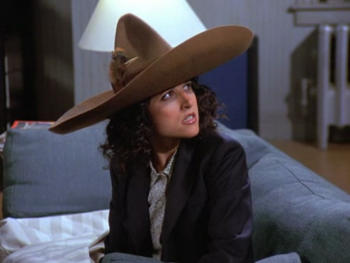Seinfeld character Elaine Benes took credit for creating the urban sombrero (WikiSein)