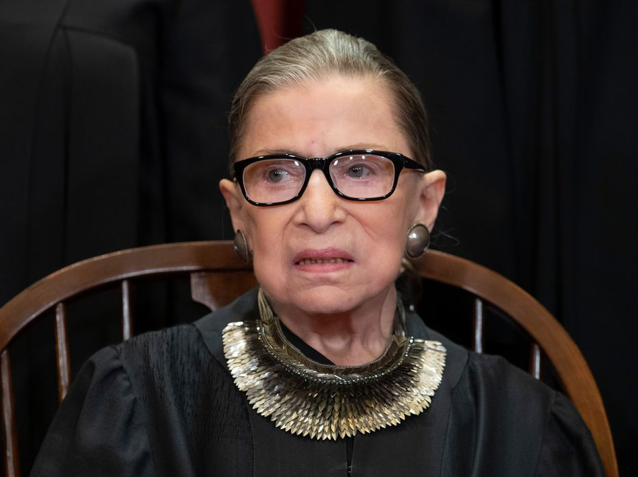 That necklace on Associate Justice Ruth Bader Ginsburg is sold by Stella & Dot. Wearing big necklaces with her black robe is a signature look for Supreme Court Justice Ginsburg.