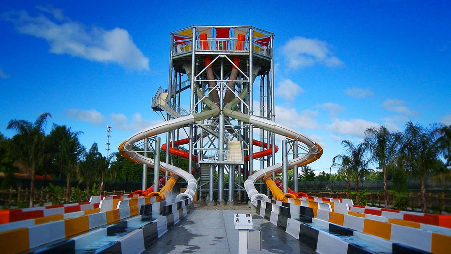 Banzai Pipeline is a choose-your-own-adventure set of water slides expected to open at Hurricane Harbor in 2020.
