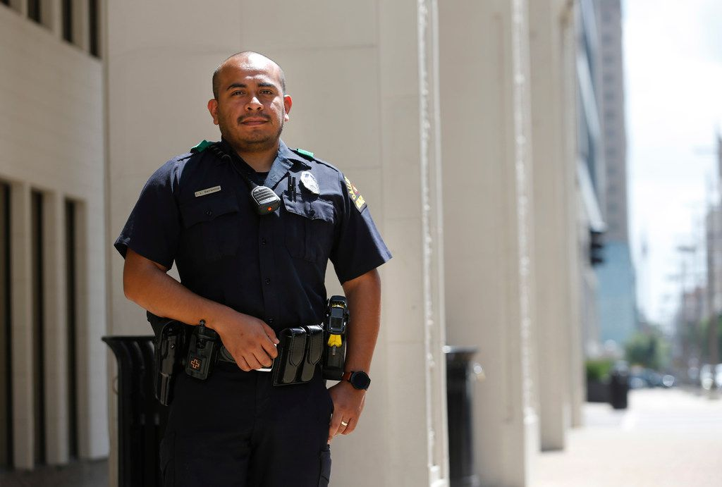 Dallas police Officer Jorge Barrientos poses for a portrait near El Centro College in downtown Dallas on July 5, 2019. Officer Barrientos was one of many officers who responded to the call as a gunman in downtown Dallas shot and killed five officers on July 7, 2016.