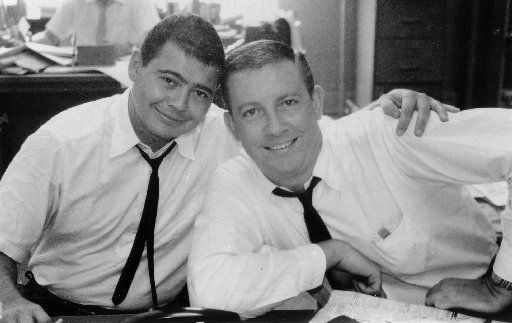 Sportswriters Gary Cartwright (left) and Bud Shrake in 1961. Cartwright and Shrake covered the Cowboys for The Dallas Morning News in 1963.