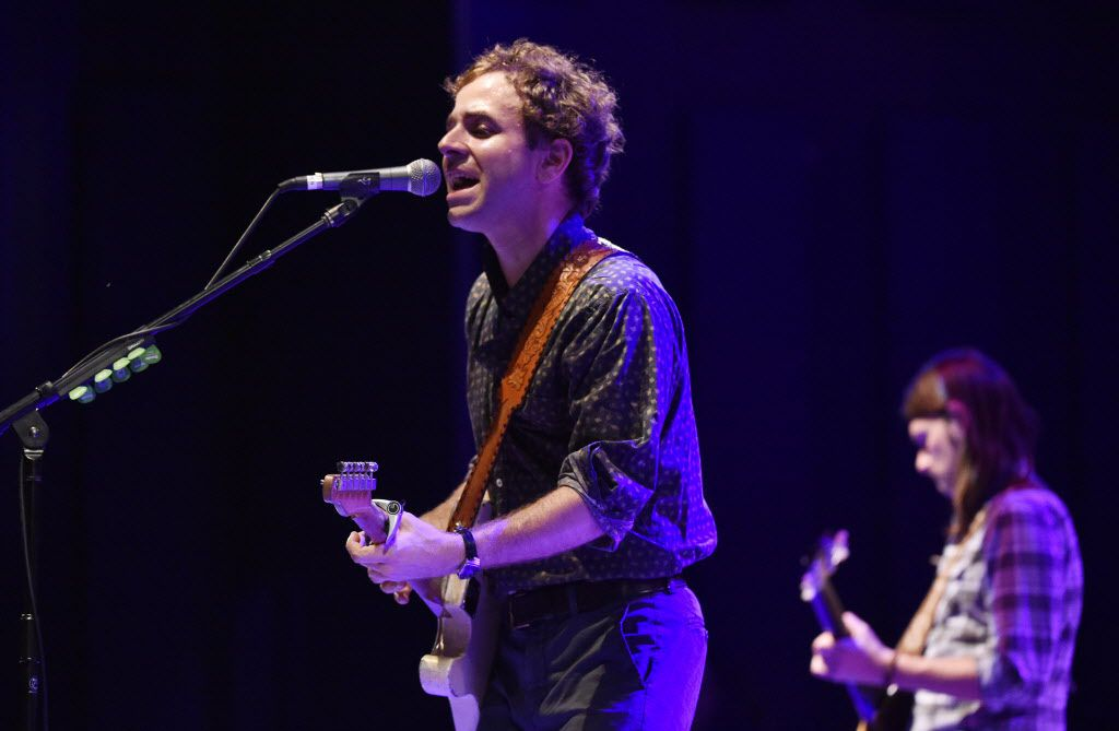 Taylor Goldsmith, left, of Dawes performs at Strauss Square in Dallas, Texas on Wednesday, June 24, 2015.  Michael Ainsworth/The Dallas Morning News)
