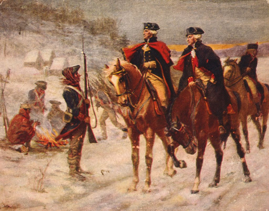 A 1907 print of a John Ward Dunsmore painting depicts George Washington and the Marquis de Lafayette at Valley Forge. T (Credit: Library of Congress Prints and Photographs Division; Brown & Bigelow, St. Paul and Toronto.)