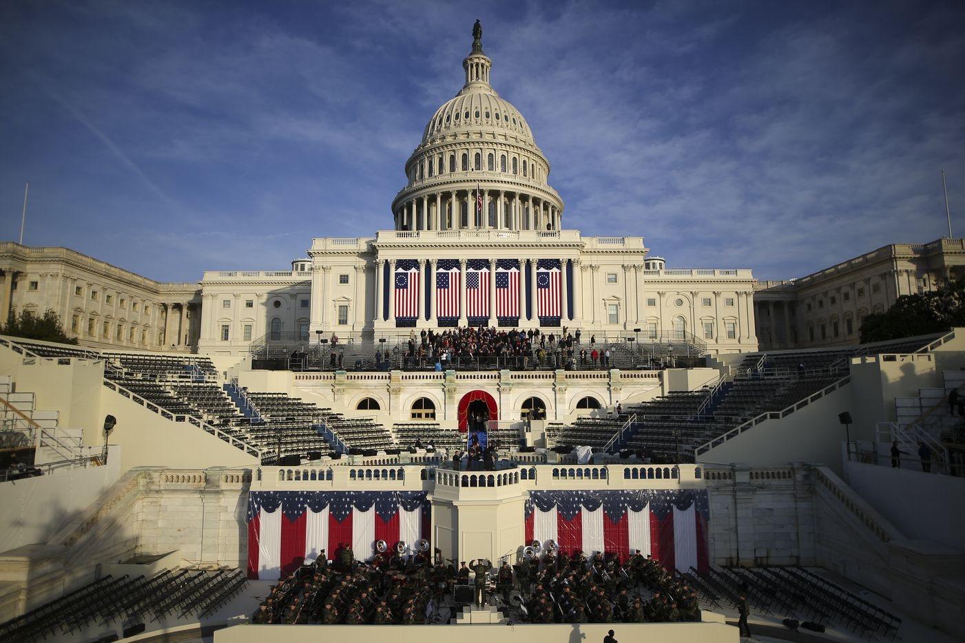 The Marine Corps Band rehearses in front of the U.S. Capitol on the day before Donald Trump's presidential inauguration, in Washington, Jan. 19, 2017.