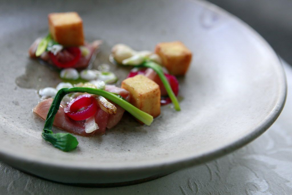 Allium: wild onion, green garlic and country ham, from Uchi restaurant
