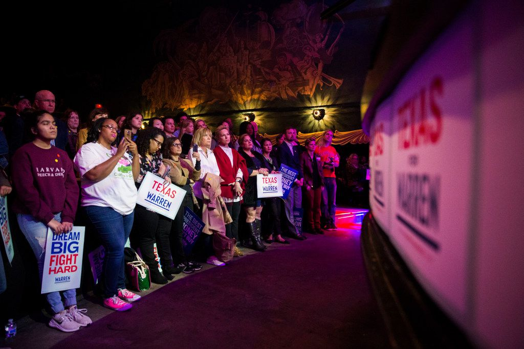 People watching Sen. Elizabeth Warren (D-MA), one of several candidates running for the Democratic Party's primary nomination in the 2020 presidential election, speak during a campaign stop at the Granada Theater in Dallas on Sunday, March 10, 2019. After speaking Warren fielded questions from the audience, then took pictures with attendees.