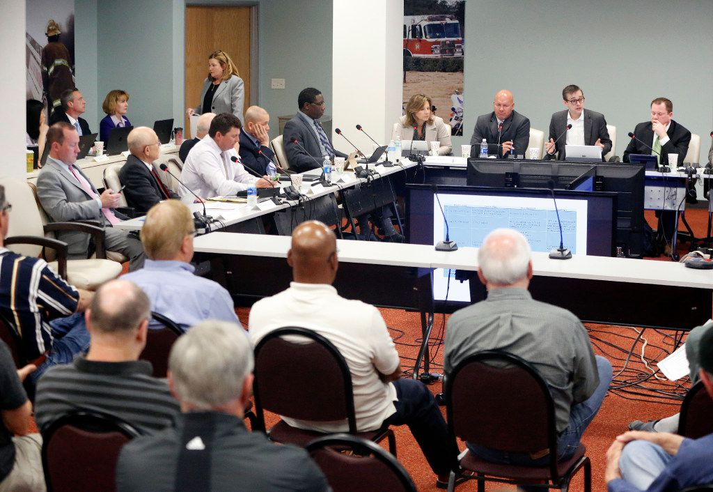 Dallas Police and Fire Pension System members held a monthly meeting in their Harry Hines Boulevard offices on March 9, 2017.