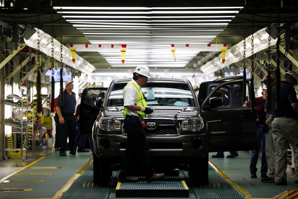 A Toyota Tacoma truck waits to come off the final inspection line at the Toyota Manufacturing Plant in San Antonio on Thursday, July 1, 2010.