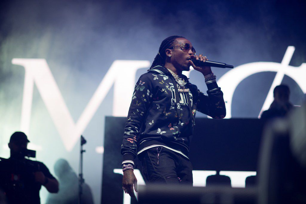 Hip hop-trio, Migos, performed on the Shrimp stage at the annual hip hop music festival, JMBLYA, on May 4, 2018. An official announcement was made that the group had experienced transportation delays which would push their set time back by over an hour. Despite the delay, Migos performed the 2017 hit, MotorSport, along with other popular songs.  (Kara Dry/Special Contributor)