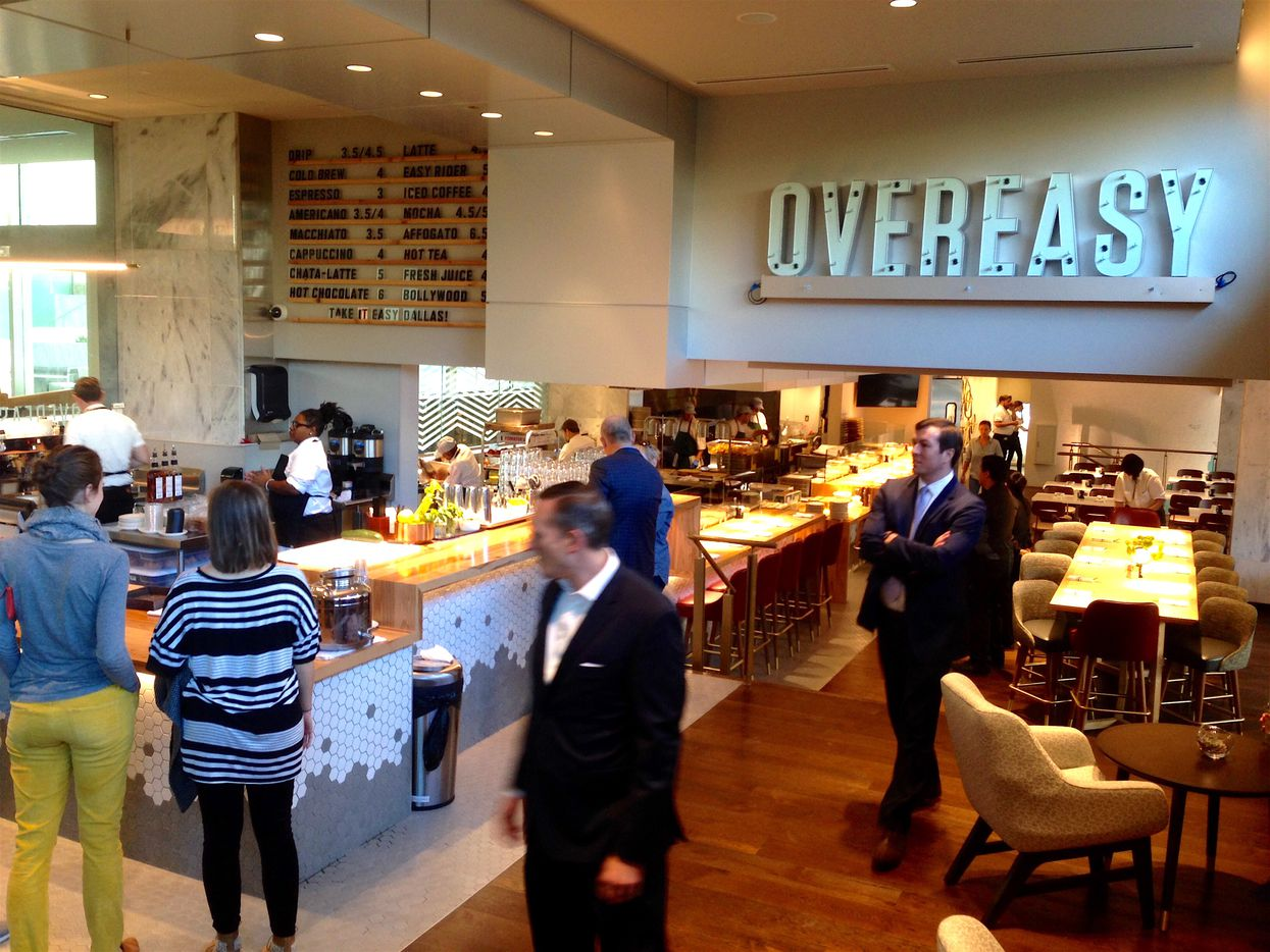 The Overeasy Cafe on the ground floor of the Statler Hotel includes an outside dining patio.