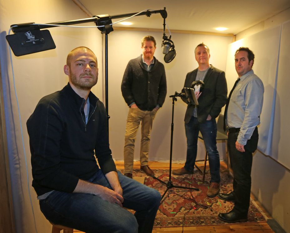 Keith Reynolds, Lindsay Graham, Robert McCollum and Michael Federico, left to right, are the creative team behind the new fictional audio series Terms, photographed in Dallas on Wednesday, November 16, 2016. (Louis DeLuca/The Dallas Morning News)