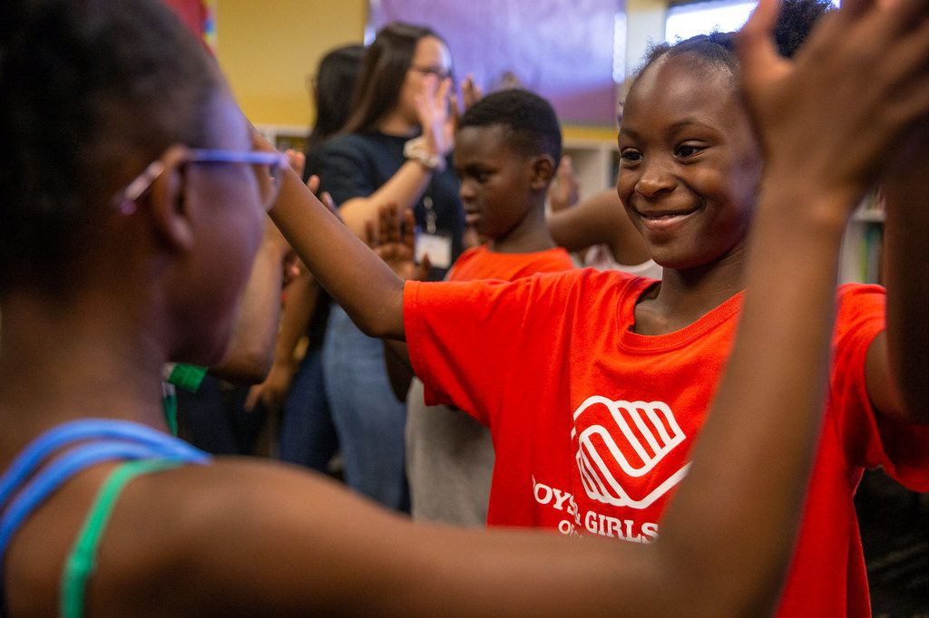 Aaliyah Wills, 9 (right), participates in a pantomime exercise during a theatre class presented by Humanities of Tomorrow at the Boys and Girls Club in Frisco, Texas, on Wednesday, July 31, 2019. The Humanities of Tomorrow program was founded by high school students to offer an arts and humanities curriculum to children during one-week programs.