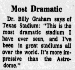 From the Oct. 24, 1971 edition of The Dallas Morning News, the day of the first game at Texas Stadium.