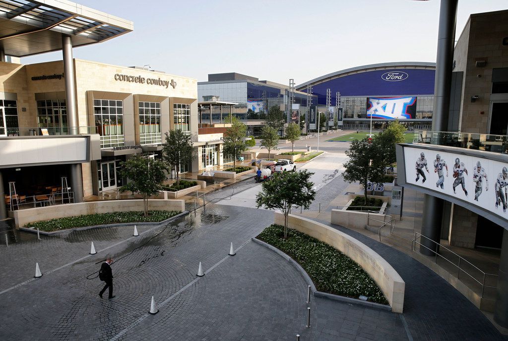 The Dr. Pepper Ring of Honor walk area (foreground) sit south of the Ford Center (top right) at The Star in Frisco