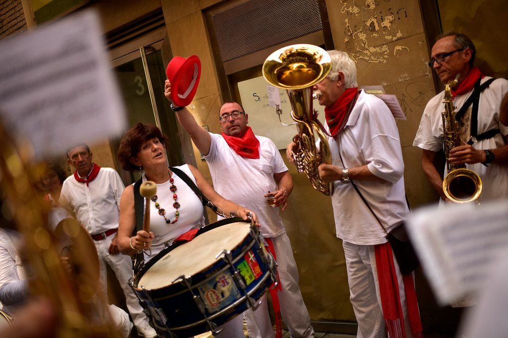 Street San Fermin's musicians play music at the San Fermin Festival, in Pamplona.