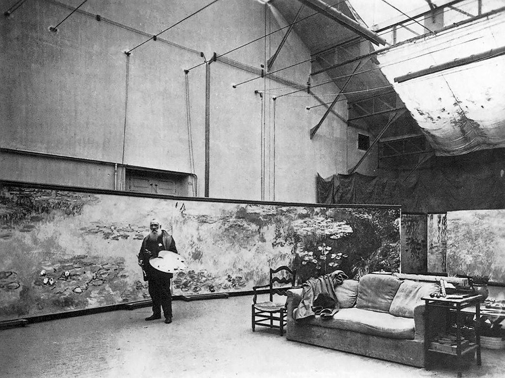 Claude Monet in his studio at Giverny 1920 Gelatin silver print