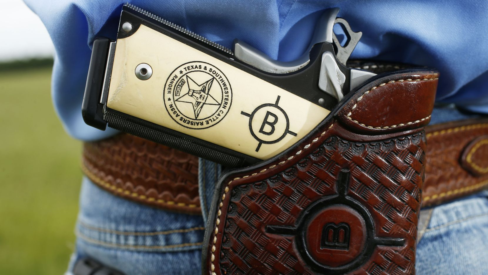 Detail of the pistol grip of Special Ranger John Bradshaw of the Texas and Southwestern Cattle Raisers Association.