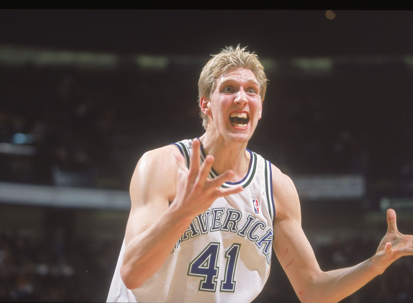 22 Dec 2000:  Dirk Nowitzki #41 of the Dallas Mavericks reacts to the call during the game against the Los Angeles Lakers at the Reunion Arena in Dallas, Texas. The Lakers defeated the Mavericks 108-103.