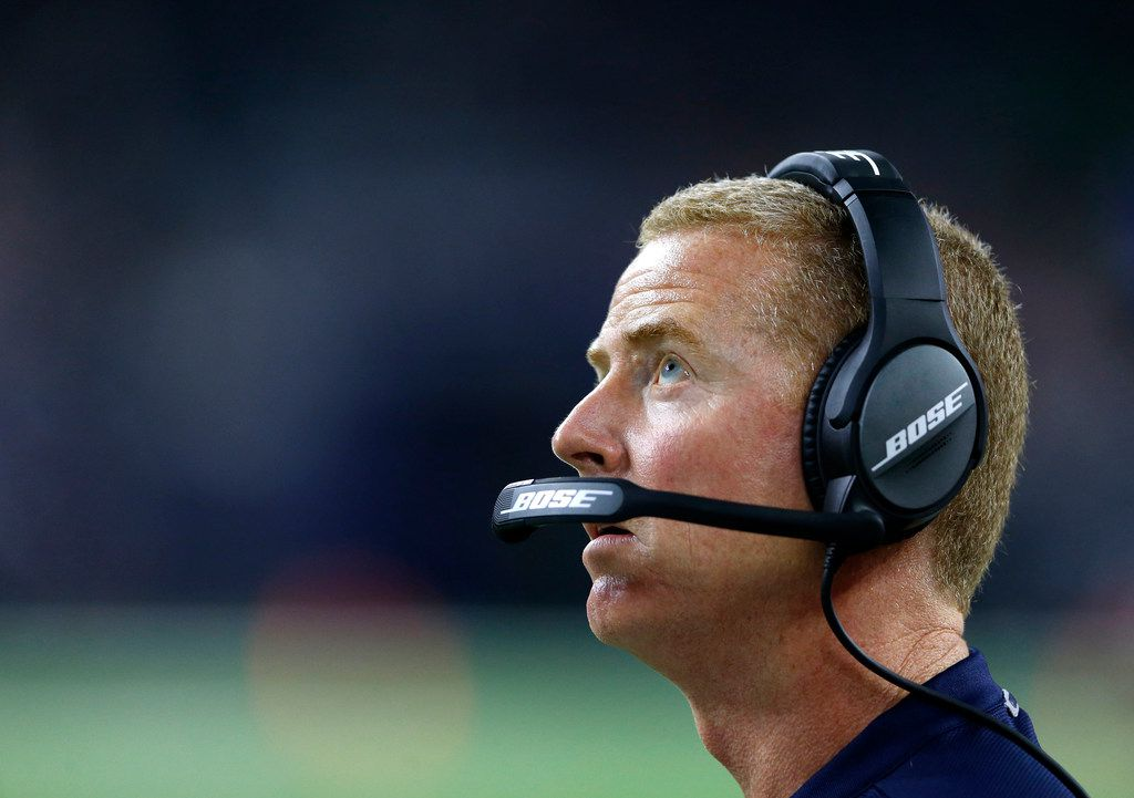Dallas Cowboys head coach Jason Garrett looks up at the video board during the second half of play at NRG Stadium in Houston on Sunday, October 7, 2018. Houston Texans defeated Dallas Cowboys 19-16 in overtime. (Vernon Bryant/The Dallas Morning News)