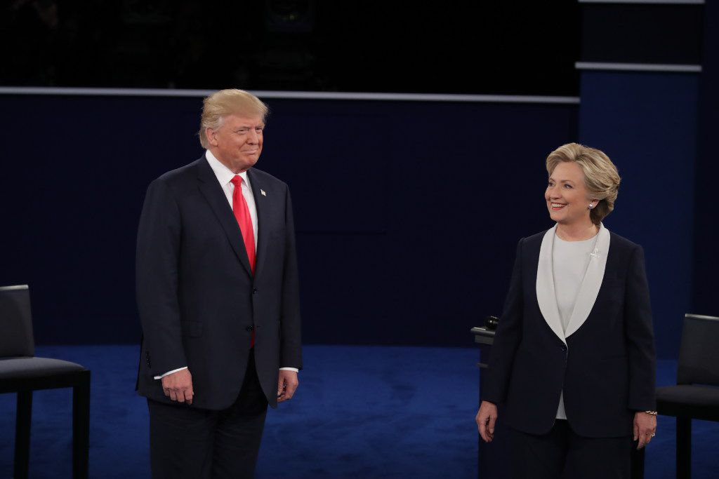 Donald Trump and Hillary Clinton sparred in their second debate Sunday night. (Chip Somodevilla/Getty Images)