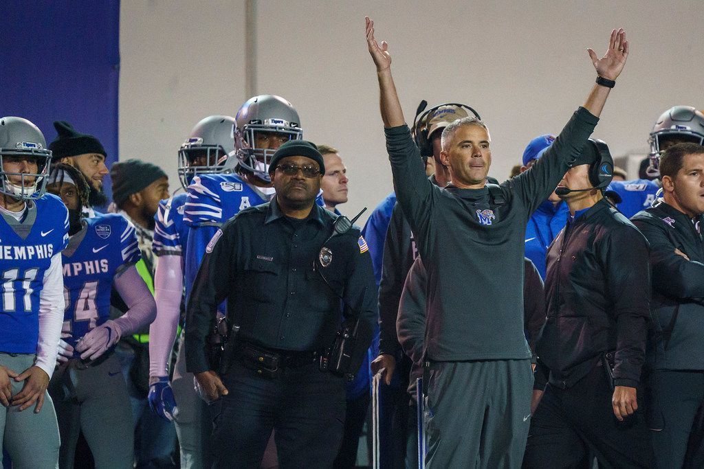 Memphis head coach Mike Norvell reacts in the final moments of the second half of an NCAA football game against SMU at Liberty Bowl Memorial Stadium on Saturday, Nov. 2, 2019, in Memphis, Tenn. (Smiley N. Pool/The Dallas Morning News)