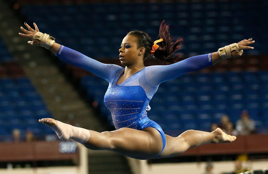 Kennedy Baker competed in the floor exercise during the 2014 NCAA Women's Gymnastics Championships in Fort Worth.