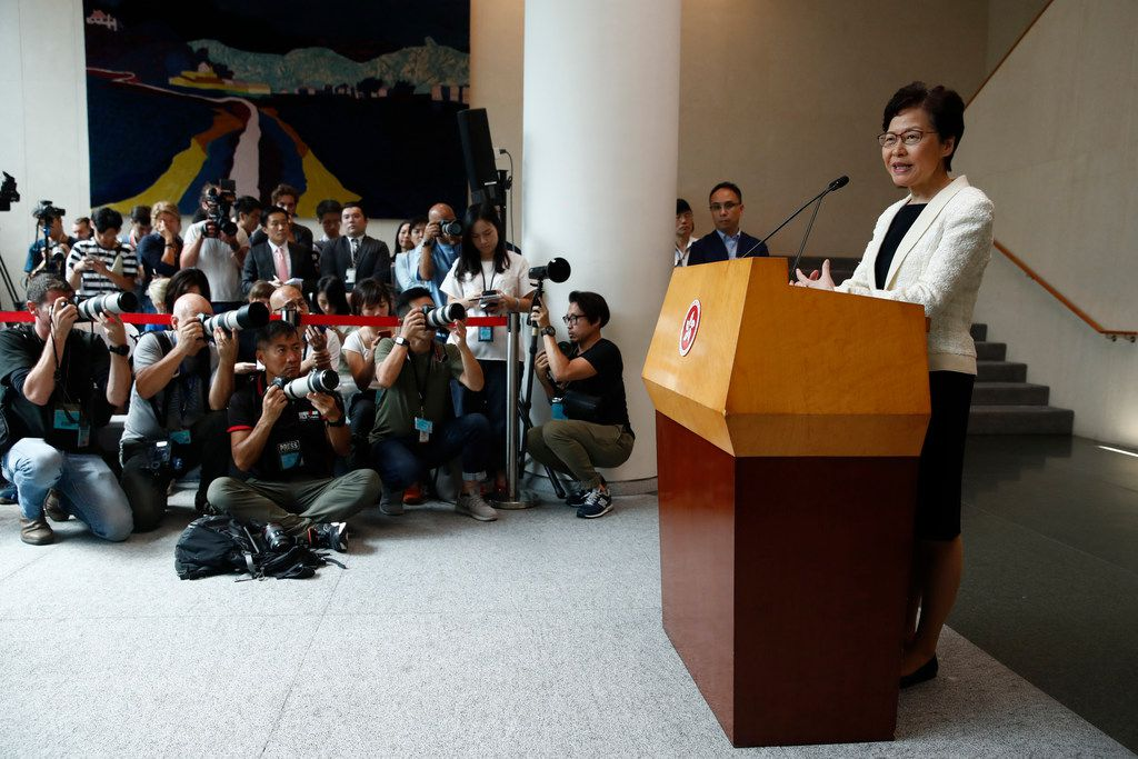 Hong Kong Chief Executive Carrie Lam speaks during a press conference in Hong Kong on Tuesday, Sept. 3, 2019. (AP Photo/Jae C. Hong)