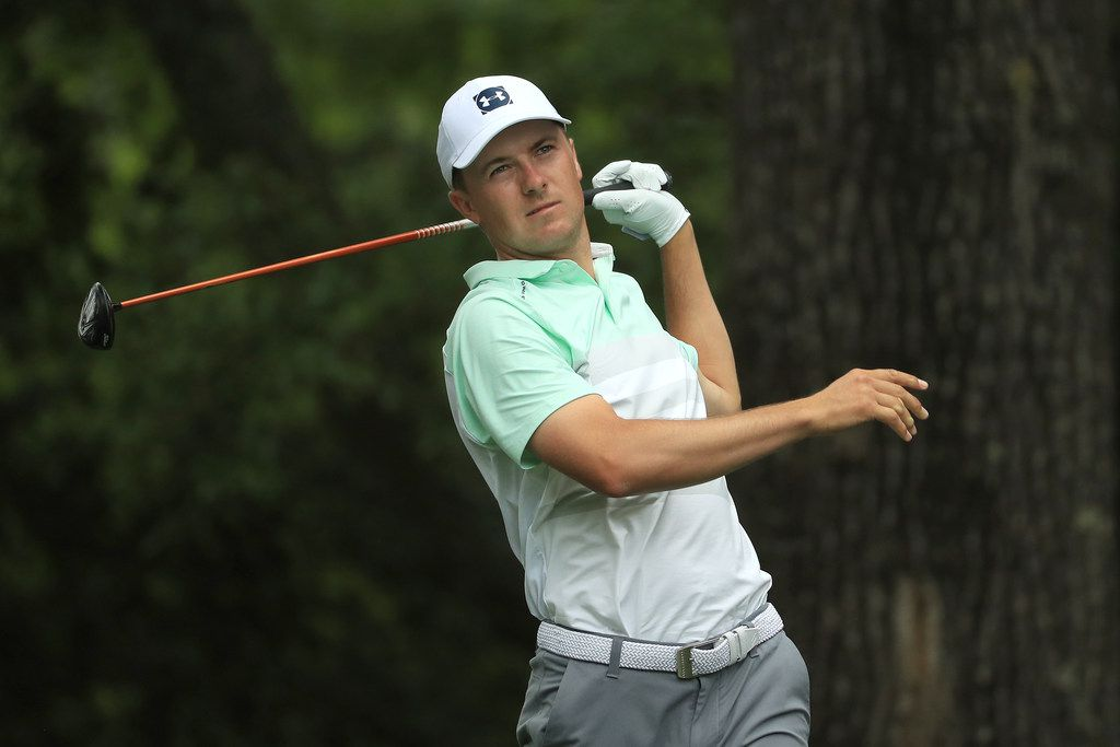 AUGUSTA, GEORGIA - APRIL 13: Jordan Spieth of the United States plays his shot from the second tee during the third round of the Masters at Augusta National Golf Club on April 13, 2019 in Augusta, Georgia. (Photo by Mike Ehrmann/Getty Images)