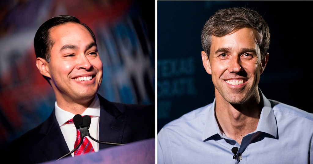 Texans Beto O'Rourke, right, and Julian Castro have topped seven figures in their pursuit of the White House.
