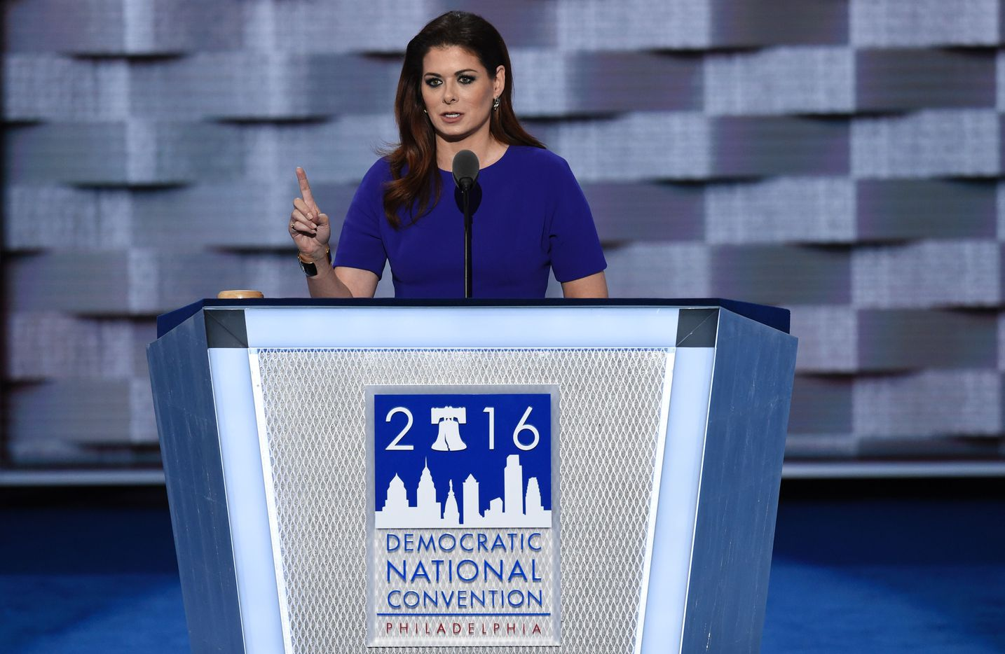 Actress Debra Messing speaks during the second day of the Democratic National Convention.