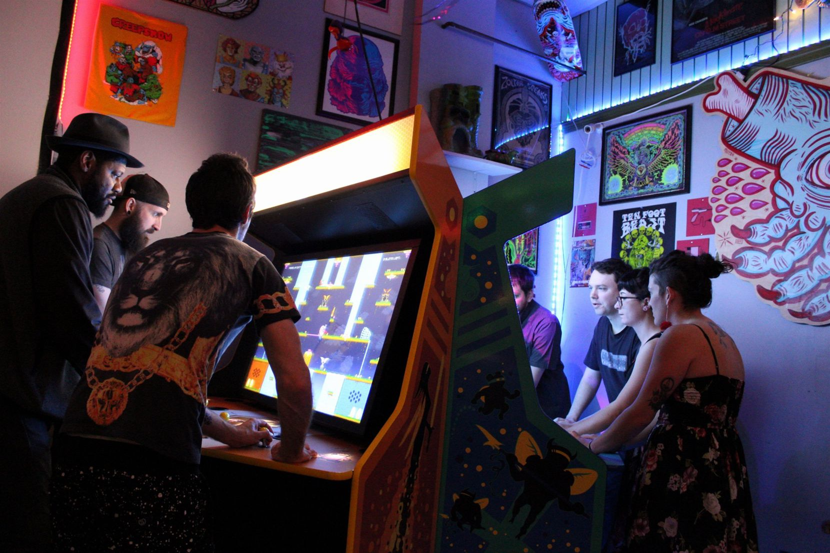 Coin-Op's retro bar/arcade is decked out with the owner's childhood toys and classic video games.