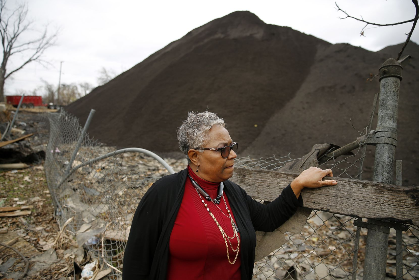 This picture of Marsha Jackson was taken last December, when we began writing about Shingle Mountain. Jackson is still there; so is the mountain. (Tom Fox/Staff Photographer)