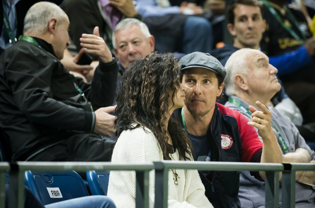 Actor Matthew McConaughey watches the United States face Australia in a men's basketball game at the Rio 2016 Olympic Games on Wednesday, Aug. 10, 2016, in Rio de Janeiro.