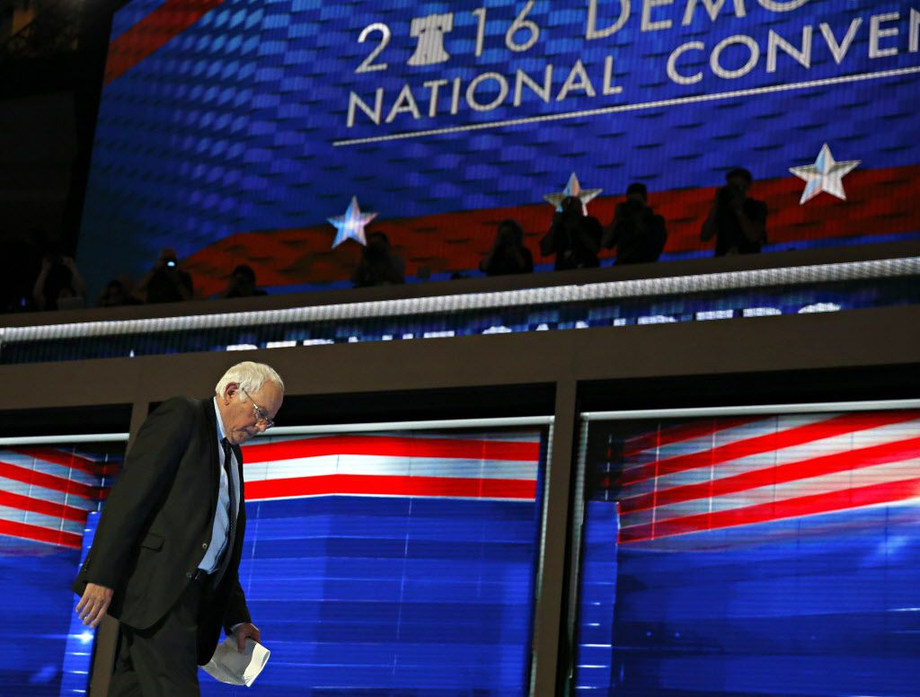 Bernie Sanders walked off the stage after his speech Monday night.