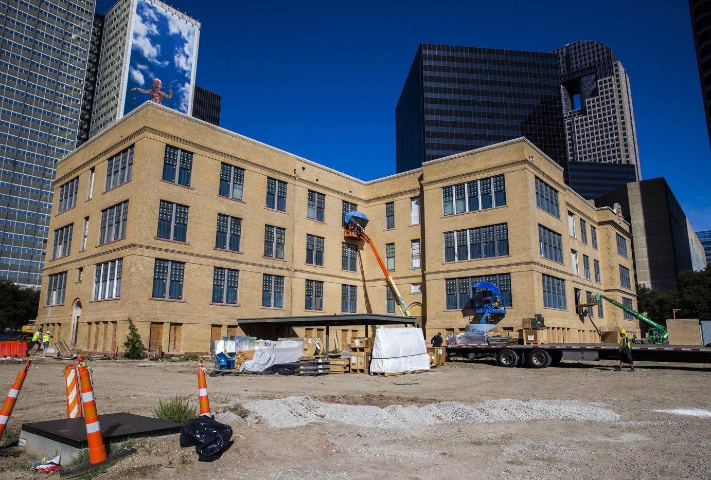 Developer Matthews Southwest has been working for more than a year to restore the old Dallas High School building on Bryan Street in downtown Dallas. It will reopen later this year as office and retail space.