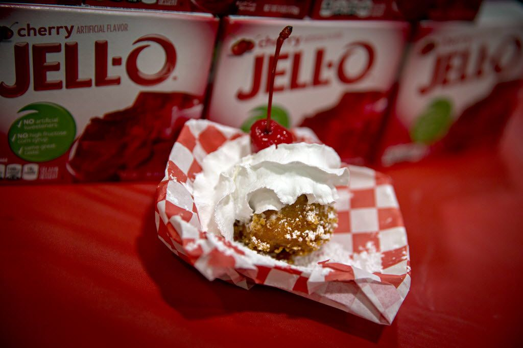 """Fried Jell-O, which won """"Best Taste"""" during the 2016 Big Tex Choice Awards Sunday, August 28, 2016 at Fair Park in Dallas. The annual event, held ahead of the State Fair of Texas, recognizes the best fried foods entered into consideration for sale at the fair. (G.J. McCarthy/The Dallas Morning News)"""