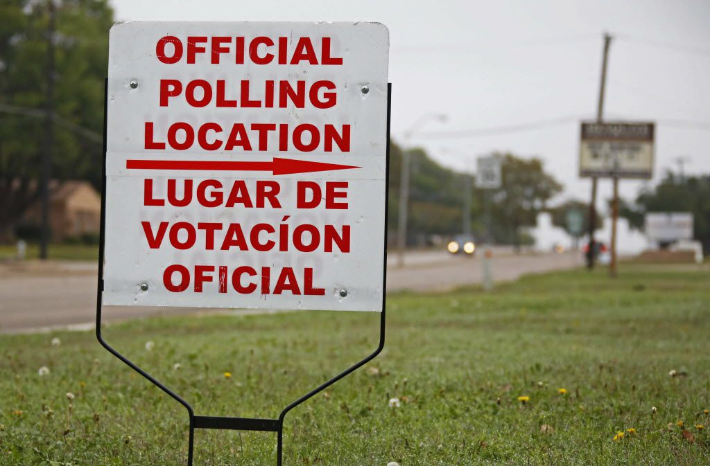 A sign identifies the polling place at Florence Park Community Center in Mesquite, photographed on Tuesday, November 3, 2015. (Louis DeLuca/The Dallas Morning News)