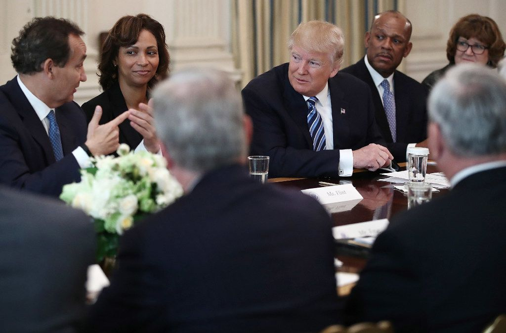 President Donald Trump met with representatives of the airline industry Thursday at the White House. (Photo by Win McNamee/Getty Images)