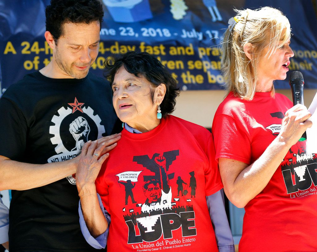 Mexican-American labor leader and civil rights activist Dolores Huerta (center) joined human right activist Kerry Kennedy (right, daughter of Robert F. Kennedy) in speeches during a Break Bread Not Families rally at Archer Park in McAllen, Texas, Saturday, June 23, 2018. Joining them was Efren Olivares (left), a Texas Ccivil rights attorney. Kennedy was there to start a 24-day chain fast on behalf of the 2,400 children separated at the Mexican border. The rally was hosted by LUP (La Union Del Pueblo Entero) to protest the treatment of families crossing into the United States.
